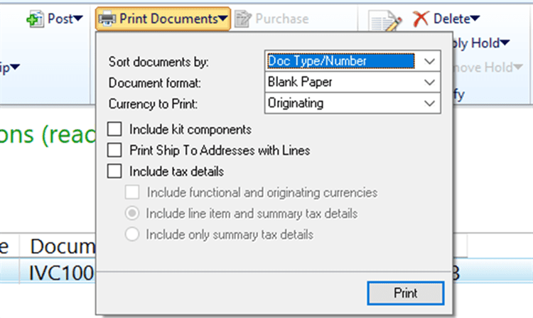 GP 2018 R2 Print Functional Currency