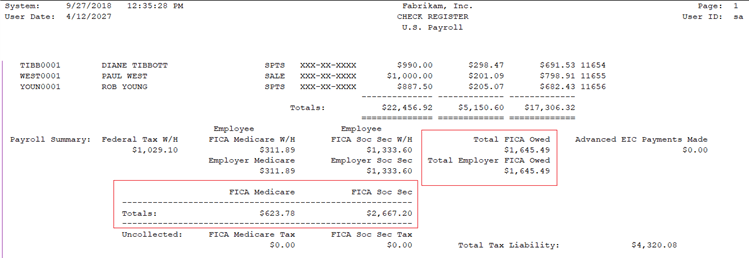 GP 2018 R2 Payroll Check Register